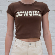 Load image into Gallery viewer, Brown 'cowgirl' crop top