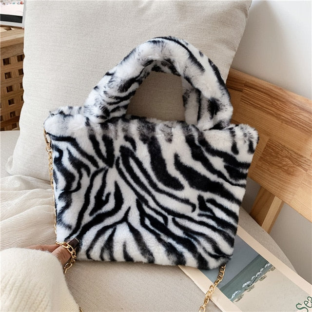 faux fur printed chain handle bags