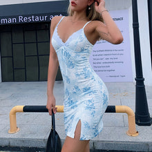 Load image into Gallery viewer, Blue floral slit dress
