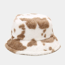 Load image into Gallery viewer, Faux fur cow print bucket hat