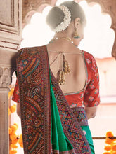 Load image into Gallery viewer, Forest Green and Mustard Silk Saree with Multi Colored Woven Border and Pallu