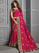Load image into Gallery viewer, Royal Blue Handloom Saree And Pink Silk Saree with Embroidery Pack