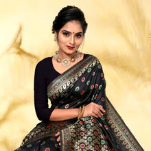 Load image into Gallery viewer, Purple Linen Cotton Saree and Mina Woven Black Kanjeevaram Saree Pack
