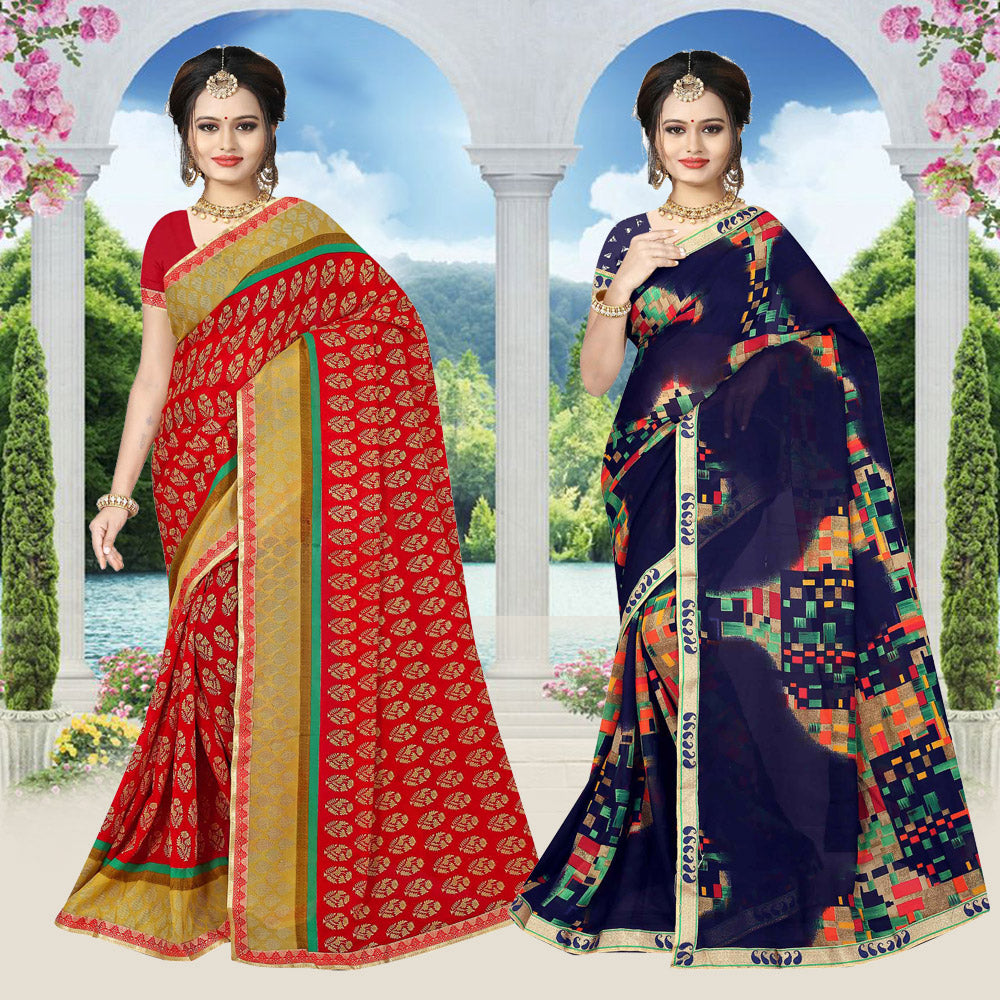 Fancy Saree with Designer Blouse Pack Of 2