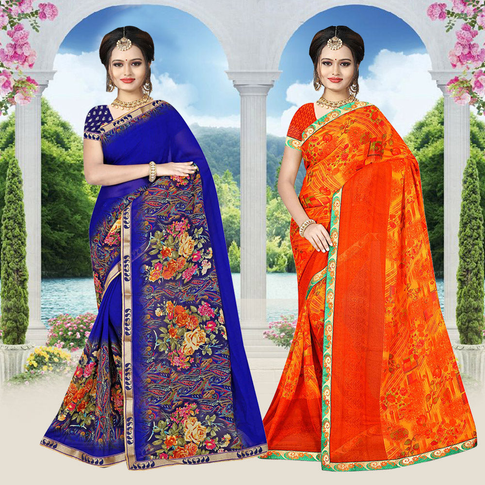 Kanchipuram Silk Woven Saree with Blouse Pack Of 2