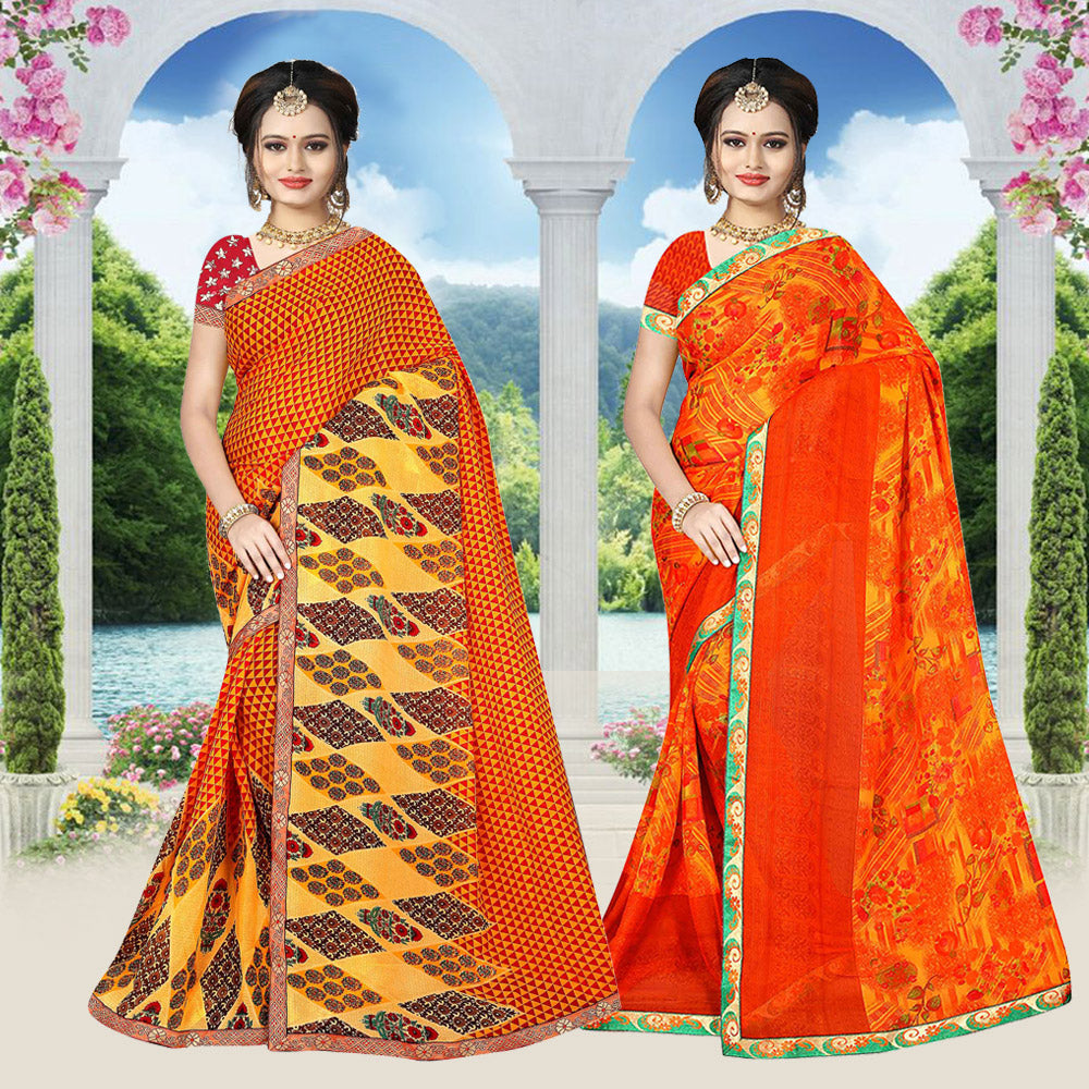 Pack Of 2 Cotton Woven Saree With Blouse