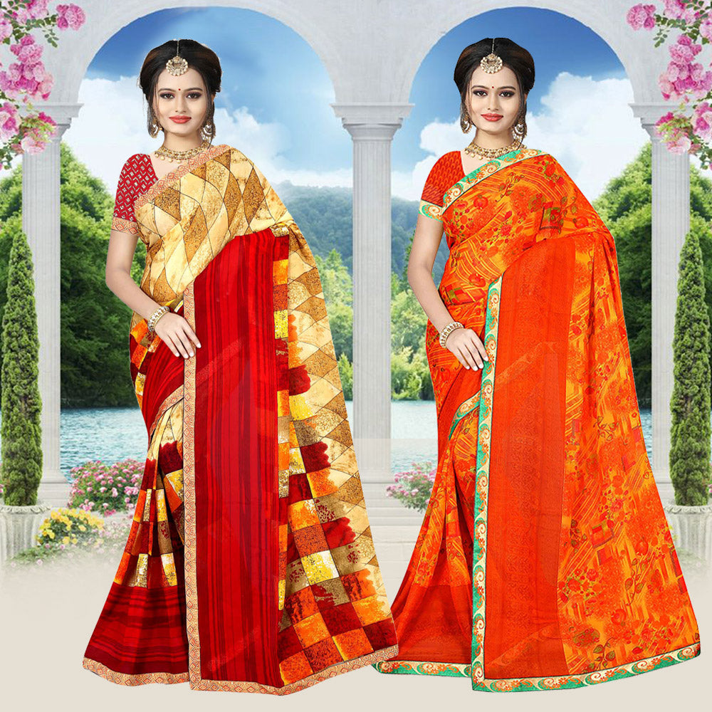 Combo pack Cotton Printed Saree