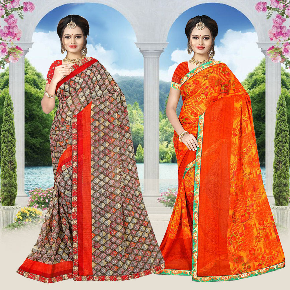 Cotton Printed Saree with Blouse (Buy 1 Get 1 Free)
