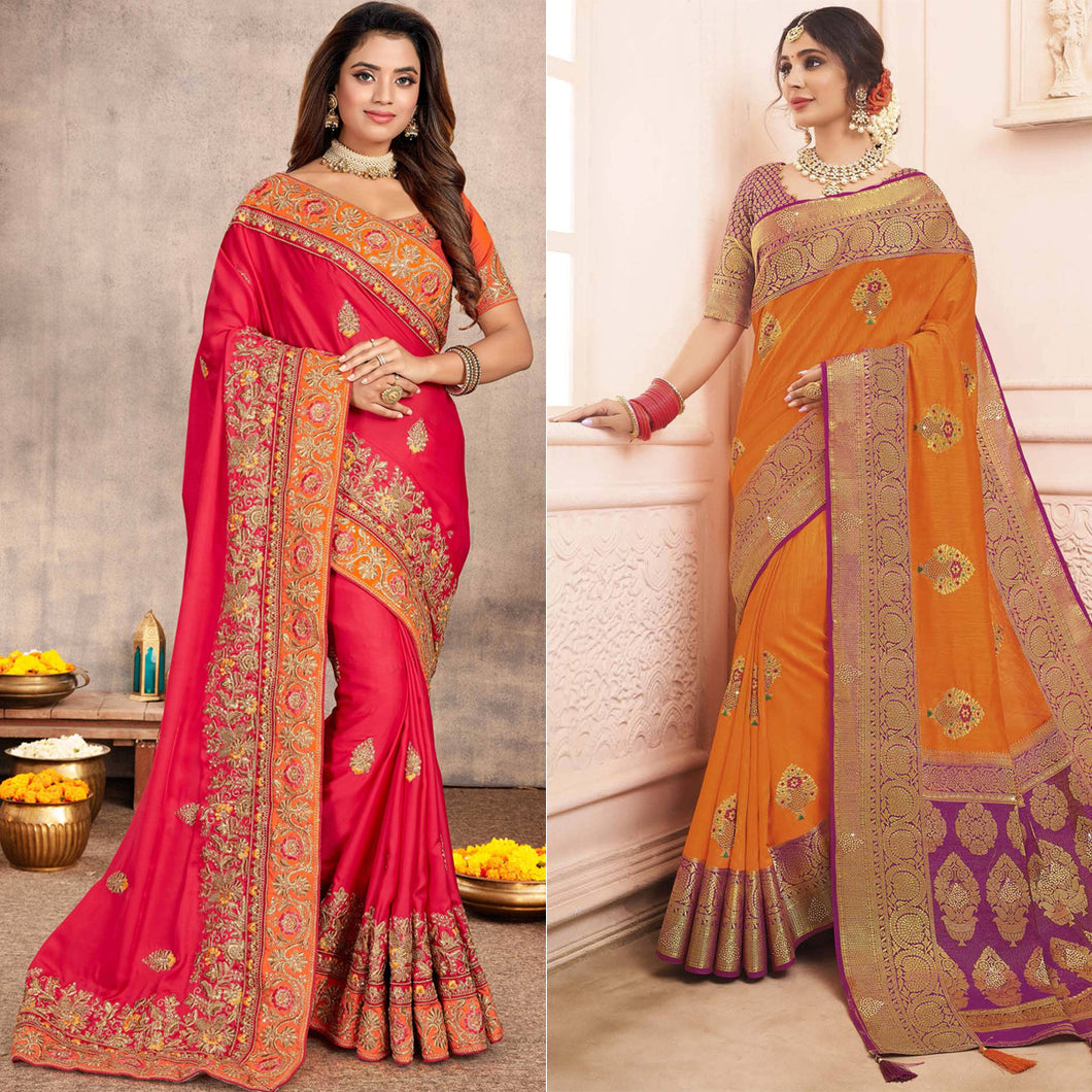 Pink Satin Saree with Embroidered Border and Orange Art Silk Woven Saree