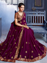 Load image into Gallery viewer, Purple Art Silk Saree and Purple Linen Cotton Paisley Embroidered Saree