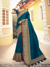 Load image into Gallery viewer, Teal Blue Art Silk Plain Saree and Pink Art Silk Embroidered Saree