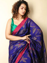 Load image into Gallery viewer, Purple Kanchipuram Silk and Royal Blue Handloom Saree