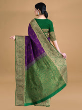 Load image into Gallery viewer, Purple Kanchipuram Silk And Red Kanchipuram Silk Woven Saree