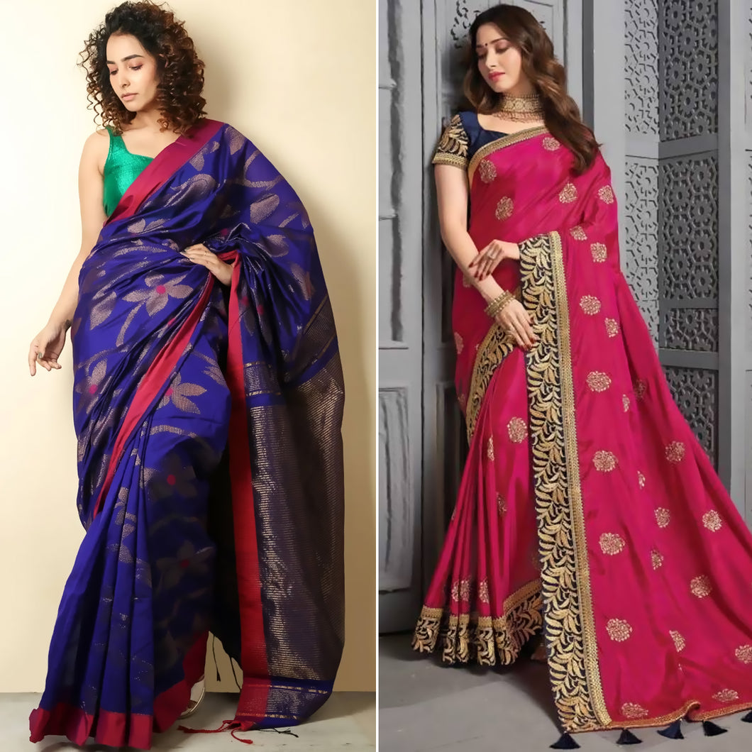 Royal Blue Handloom Saree And Pink Silk Saree with Embroidery Pack