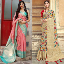 Load image into Gallery viewer, Peach Banarasi & Beige Banarasi Silk Printed Saree Combo