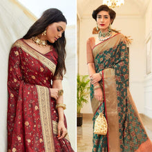 Load image into Gallery viewer, Viridian Green and Deep Rusty zari Banarasi Saree Combo
