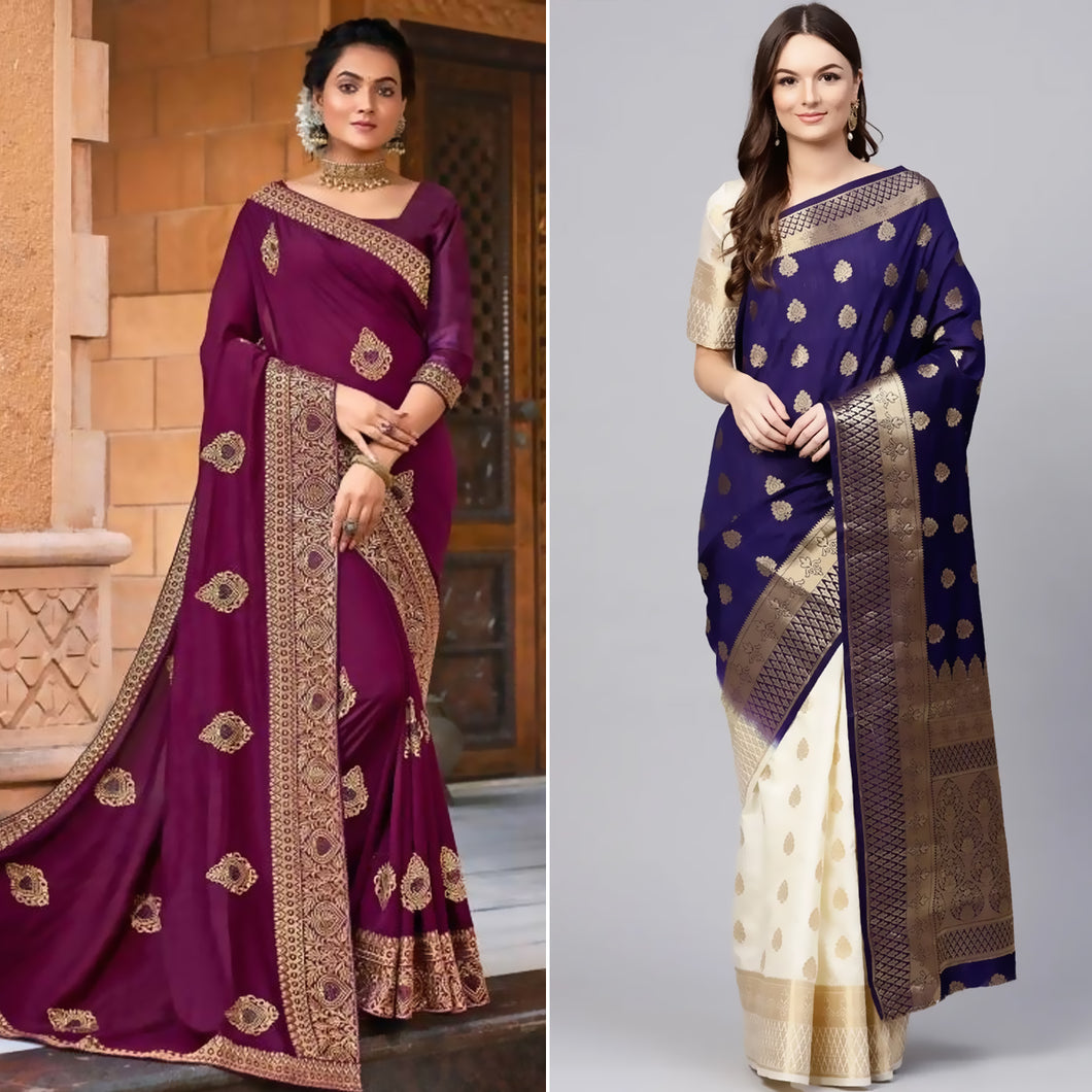 Violet Purple Chanderi Silk Saree and Blue Festive Silk Blend Banarasi Saree