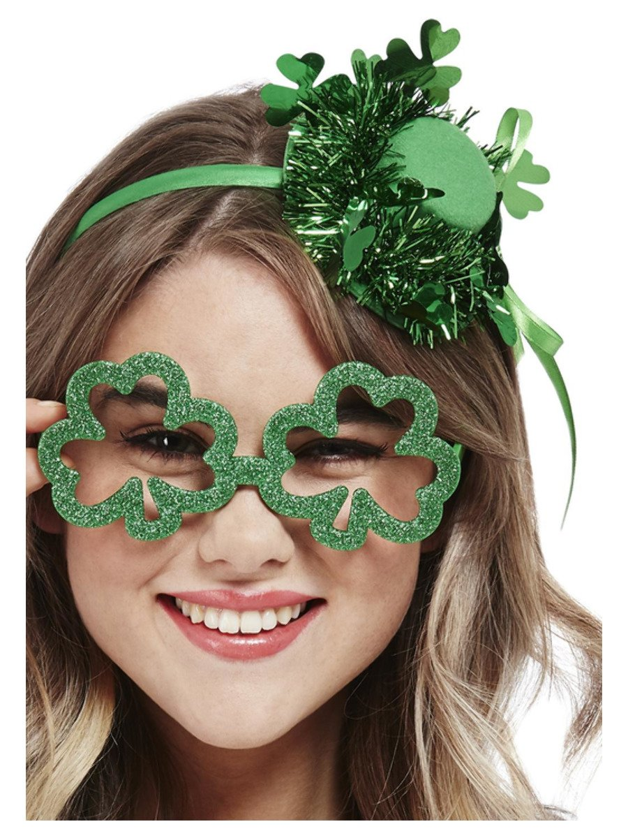 Paddy's Day Shamrock Glitter Party Specs