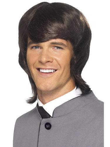 60s Male Mod Wig, Brown, Long