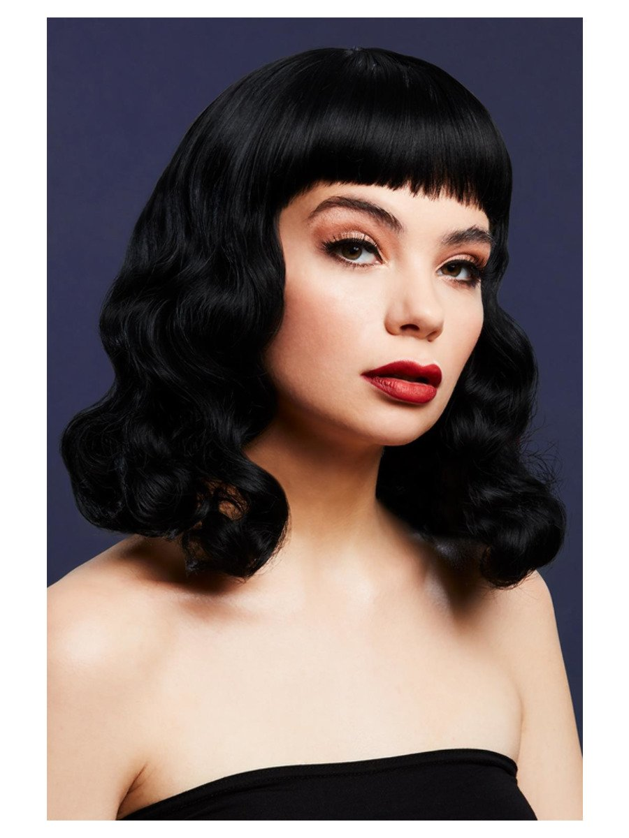 Fever Bettie Wig with Short Fringe, Black