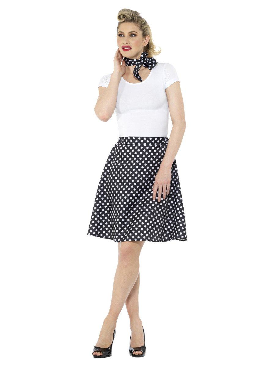 Adults Black 50s Polka Dot Skirt