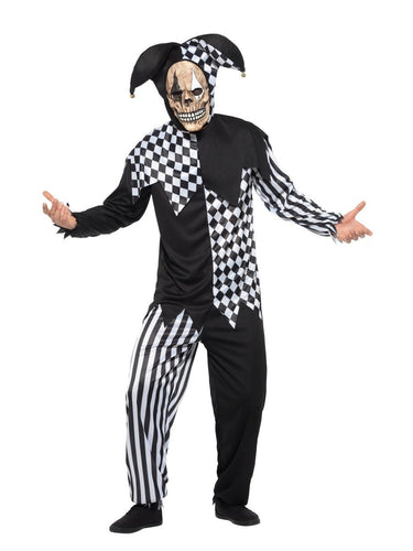 Evil Court Jester Costume, Black & White