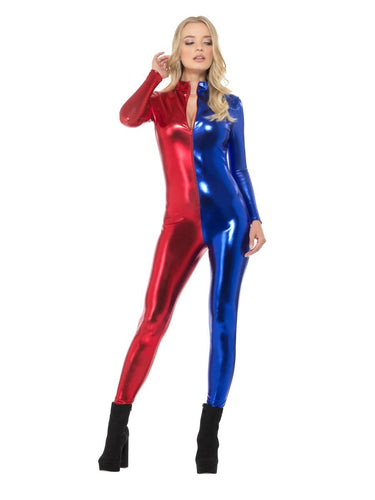 Fever Miss Jester Whiplash Costume, Red & Blue, with Zip-Up Catsuit