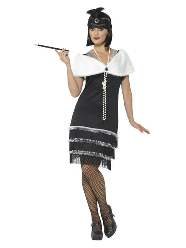 Flapper Costume, Black, with Dress & Fur Stole