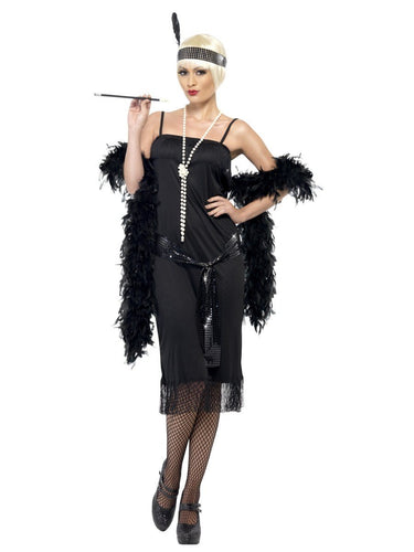 Flapper Costume, Black, with Dress