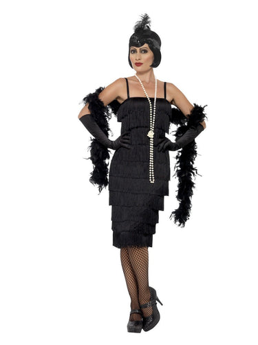 Flapper Costume, Black, with Long Dress