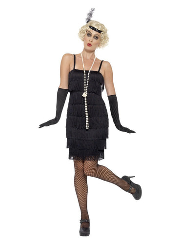 Flapper Costume, Black, with Short Dress