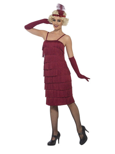 Flapper Costume, Burgundy Red, with Long Dress