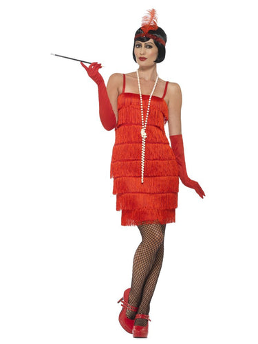 Flapper Costume, Red, with Short Dress