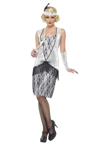 Flapper Costume, Silver, with Dress