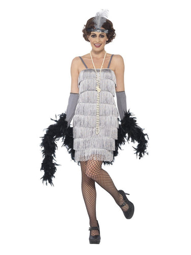 Flapper Costume, Silver, with Short Dress