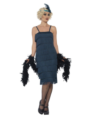Flapper Costume, Teal Green, with Long Dress