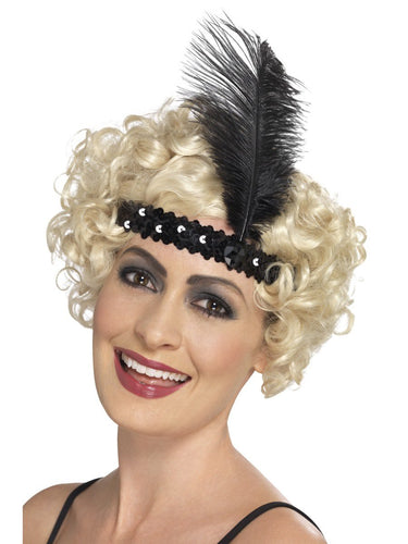 Flapper Headband, Black, with Feather