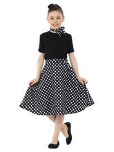 Load image into Gallery viewer, Kids Black 50s Polka Dot Skirt