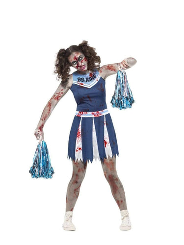 Zombie Cheerleader Costume, Blue