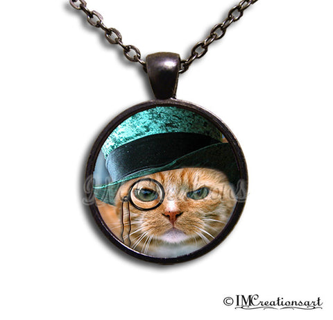 Teal Top Hat Cat with Spectacles