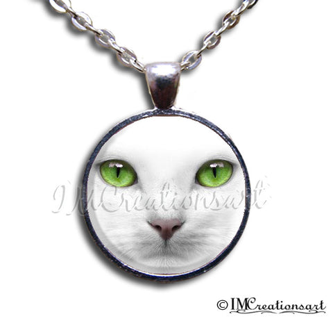 Green Eyed White Cat