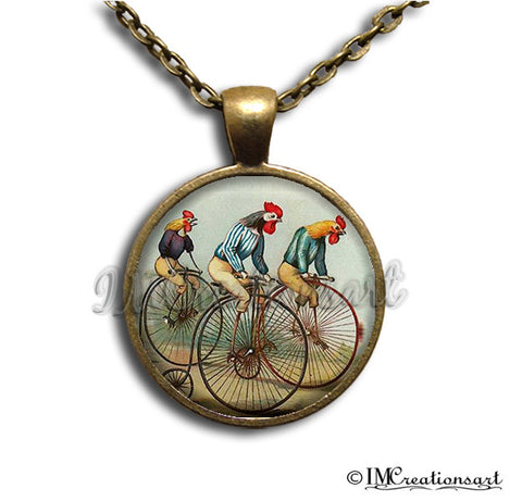 Roosters on Bicycles Vintage