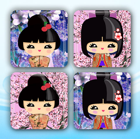 Kokeshi Dolls Cherry Blossoms