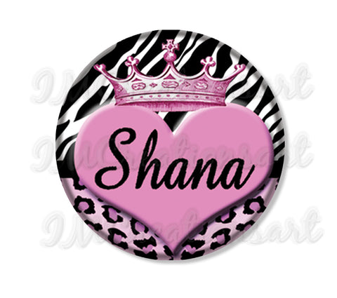 Personalized Name Crown Animal Print