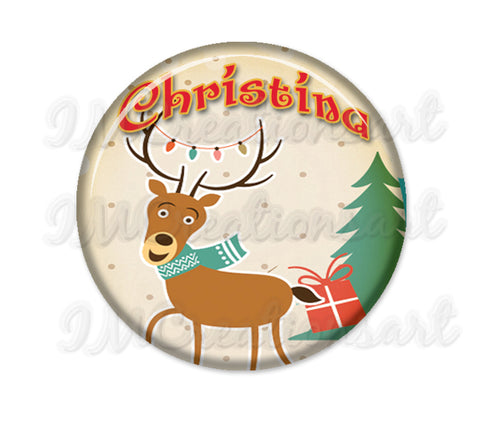Personalized Name Christmas Holidays Reindeer