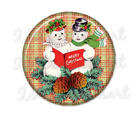 Retro Snowman Couple