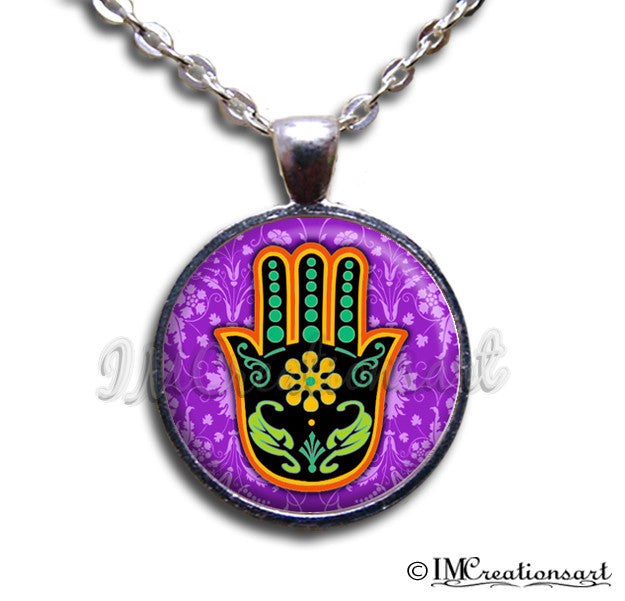 Hamsa Hand Sacred Purple Black