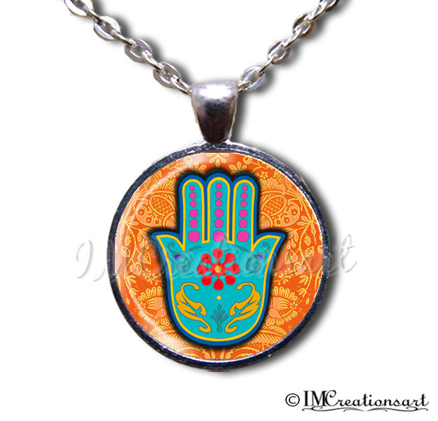 Hamsa Hand Sacred Orange Blue