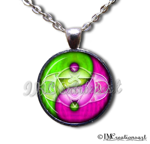 Yin Yang in lime and fuchsia