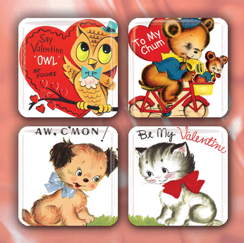 Adorable Retro Valentine's Animals